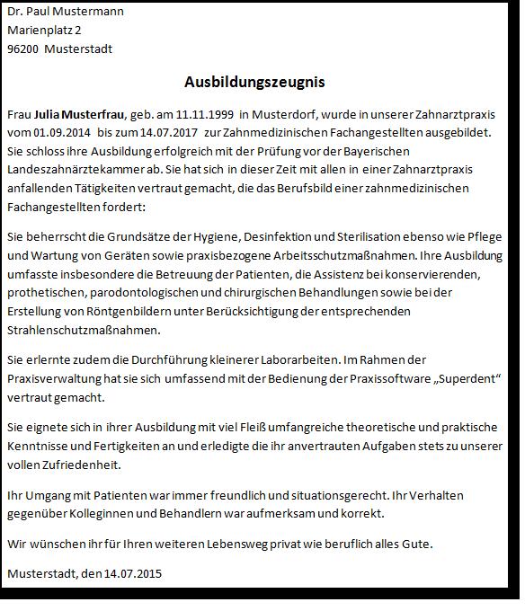 Ausbildungszeugnis Bayerische Landeszahnarztekammer